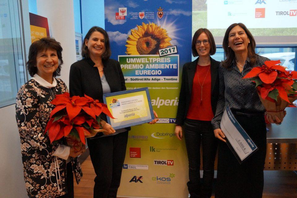 """""""Premio Energia Alto Adige"""" per il progetto di formazione ambientale di ASM Bressanone SpA e la cooperativa sociale WiaNui"""